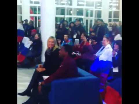 Maria Sharapova and Ato Boldonat the Russian Fan House at the Olympic Park