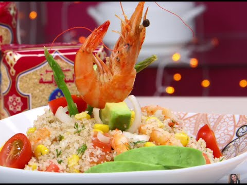 choumicha-:-salade-de-couscous-aux-crevettes-(taboulé)-|-couscous-salad-with-shrimps-and-vegetables