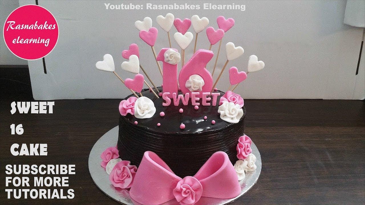 Sweet 16 Cakes 16th Birthday Cake Design Ideas Decorating Tutorial Classes Video Youtube