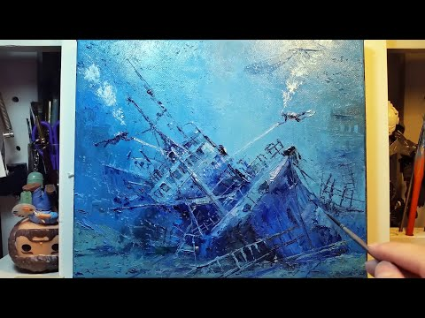Diving Ocean Wreck - How to Paint with a Palette Knife | Brush - Oil Painting - Dusan - Part 2