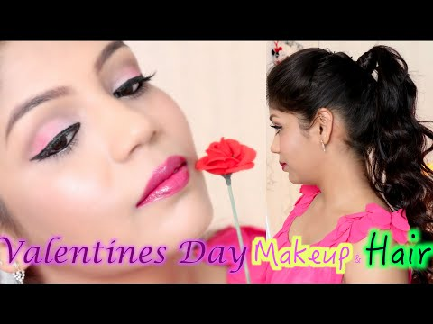 valentines-day-pink-makeup-tutorial-2016- -high-ponytail-hairstyle-tutorial- -superprincessjo