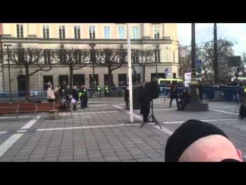 Sverigedemokrater på folkets demonstration Norrmalmstorg