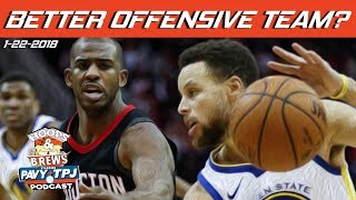 Better Offense, Houston Rockets or GS Warriors ? | Hoops & Brews