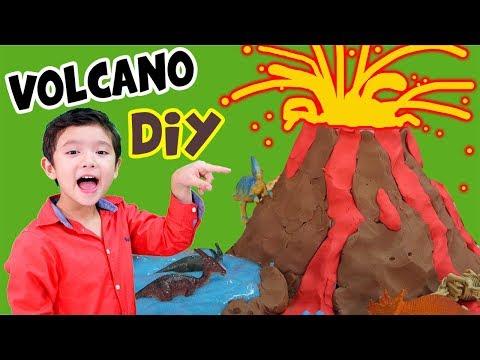 สกายเลอร์   ภูเขาไฟ ลาวา มาแล้ว วิ่งหนีเร็ว!! ไดโนเสาร์โดนเผาเหลือแต่ซากฟอสซิล (DIY Volcano)