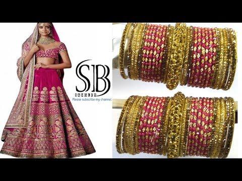 BRIDAL HEAVY LEHENGA CHOLI BANGLES SET FOR BRIDAL || rani color bridal bangle set
