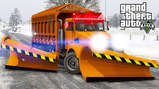 GTA 5 Mod - Department Of Transportation Snow Plow & Salter Spreader Plowing Snow In North Yankton