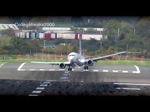 Terrifying landings during Storm Brian crosswinds at Birmingham Airport
