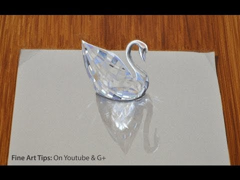 Drawing glass: How to Draw a 3D Swarovski Crystal Swan- Fine Art-Tips by ArtistLeonardo
