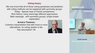 "Don Saari - ""Hidden Symmetries Inherent to Decision Methods"""