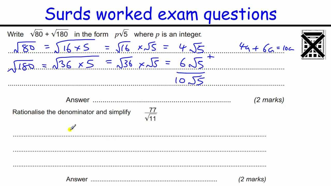 How To Do Surds Gcse Aa Maths Revision Higher Level Exam Qu