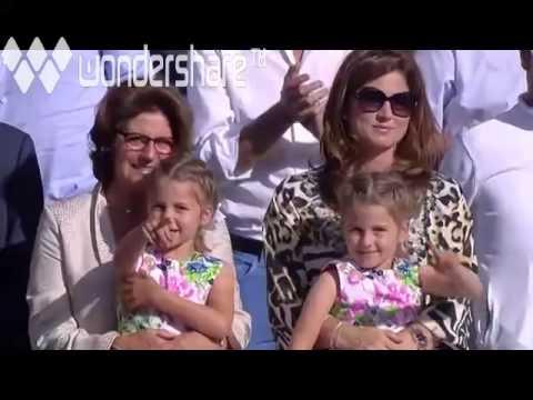 Myla and Charlene Federer at Wimbledon 2014 trophy ceremony
