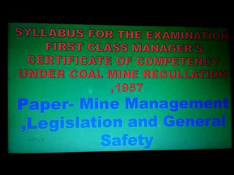 First Class Manager Certificate Exam Paper Subject Mine Management, Legislation And General Safety