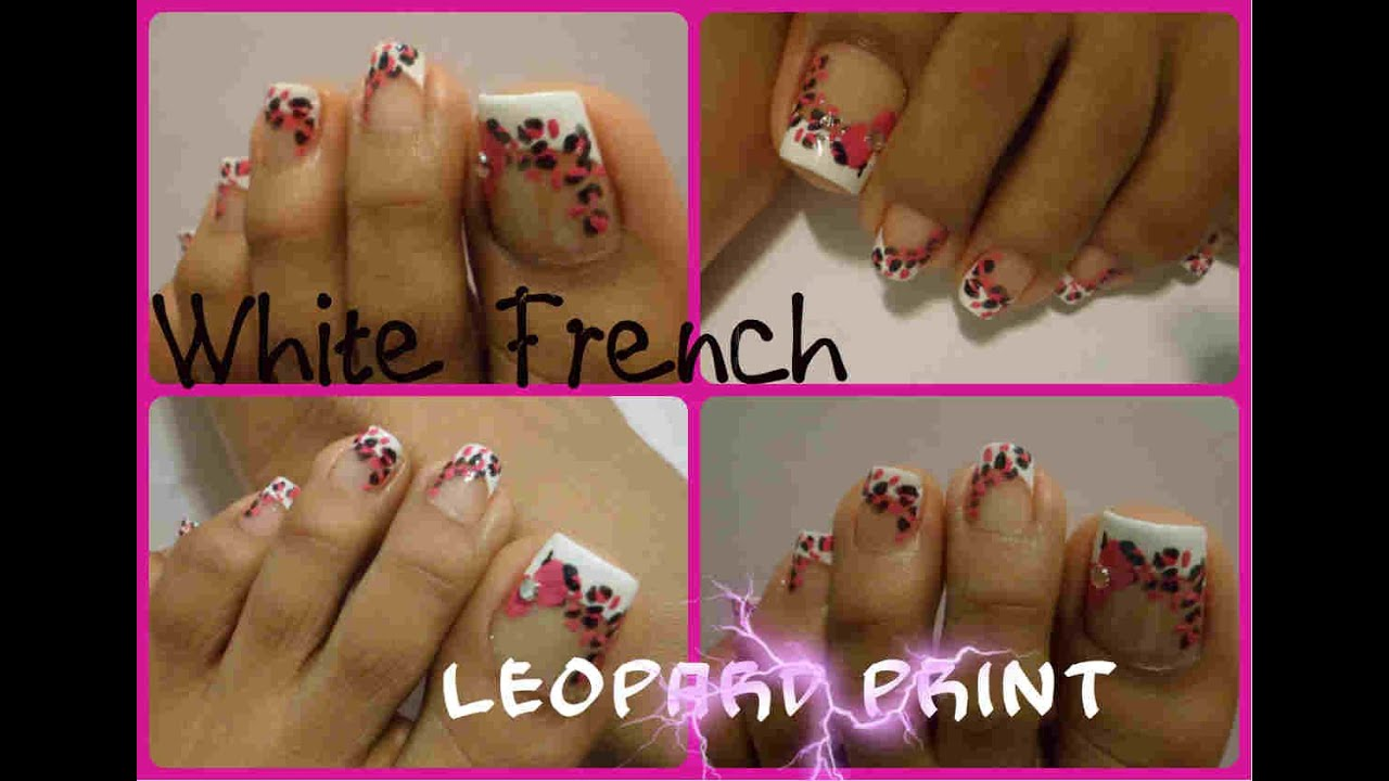 French y estampado leopardo decoración uñas de los pies/white french  leopard print toe nail art
