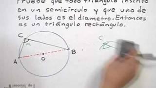 Triángulo rectángulo inscrito en una circunferencia
