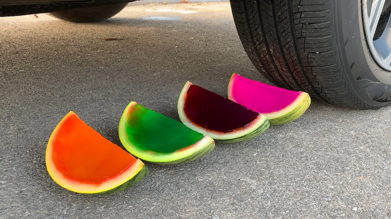 Experiment Car vs Watermelon Rainbow Jelly | Crushing Crunchy & Soft Things by Car | Car US