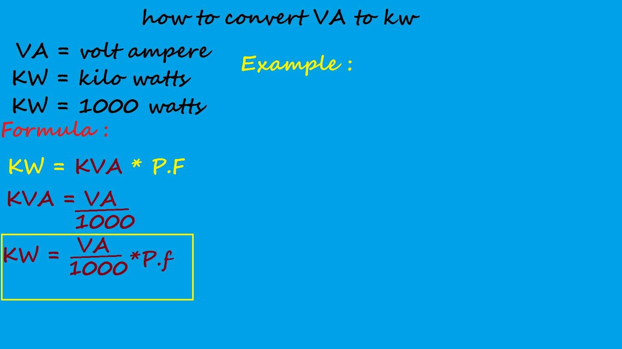 How to convert volt ampere to kw electrical formulas and how to convert volt ampere to kw electrical formulas and calculations youtube greentooth Choice Image