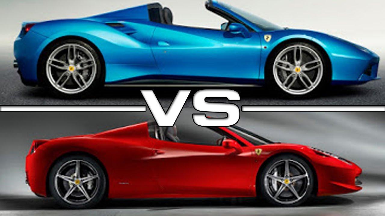 Ferrari 488 Spider vs 458 Spider, comparison - YouTube on lamborghini vs audi r8, lamborghini vs dodge viper, lamborghini vs nissan gt-r, lamborghini vs nissan skyline, lamborghini vs mclaren f1, lamborghini vs laferrari, lamborghini vs ford focus, lamborghini vs bugatti veyron super sport, lamborghini vs toyota supra, lamborghini vs hyundai elantra, lamborghini vs corvette, lamborghini vs porsche 911, lamborghini vs nissan 300zx, lamborghini vs mclaren p1,