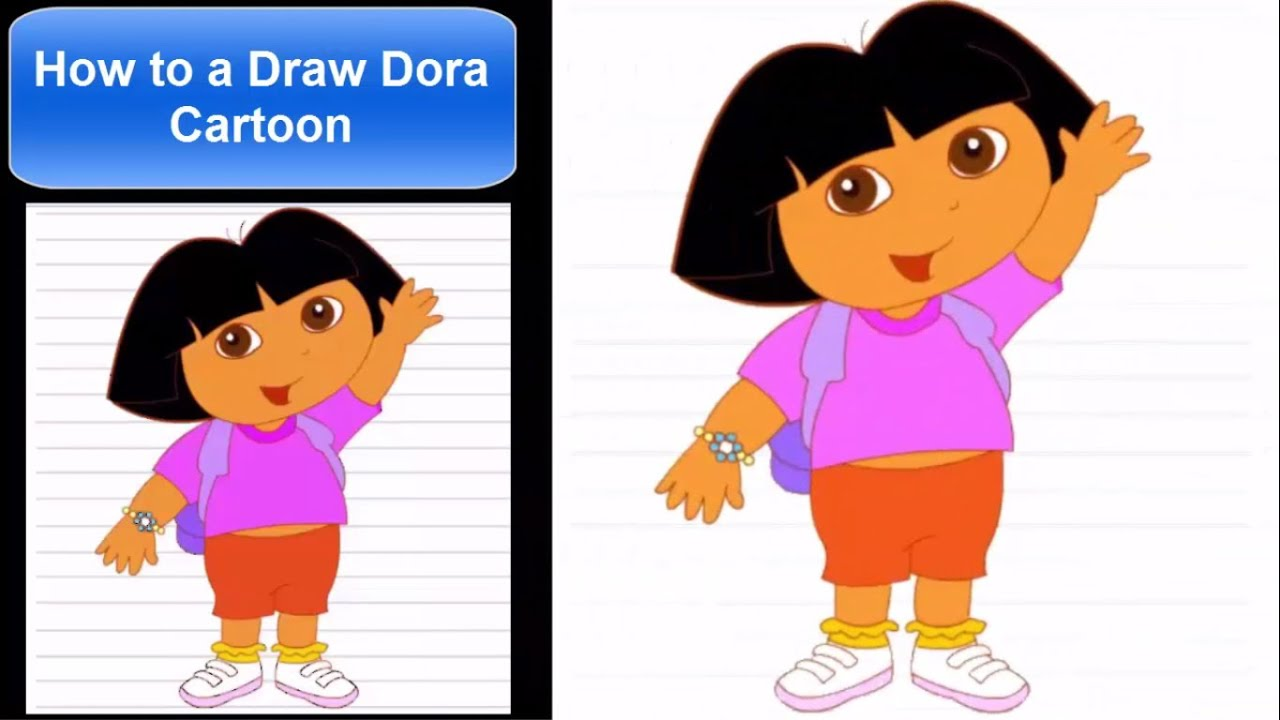 how to draw a cartoon dora character for kids drawing step by step