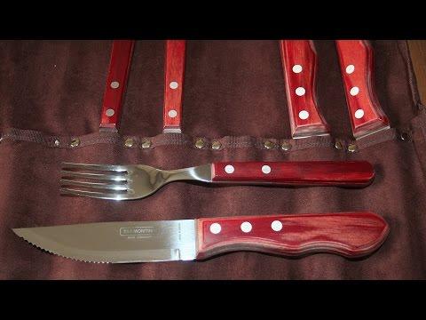 12-teilig Tramontina Polywood Tafelgeschirr 6 Steakbesteckmesser und 6 Steakgabeln