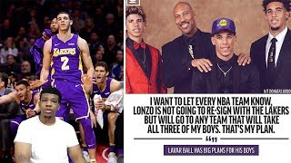 LAVAR BALL SAID LONZO BALL WILL NOT RESIGN WITH THE LAKERS IF THEY DONT SIGN LAMELO & LIANGELO !