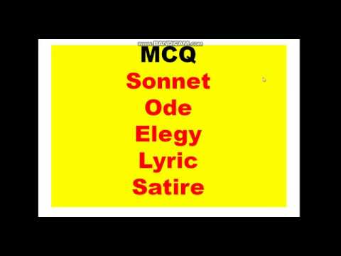 Mcq On Sonnet Ode Elegy Lyric Satire Discussed And Fully Analysed