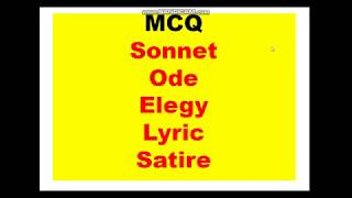 MCQ on Sonnet Ode Elegy Lyric Satire discussed and fully analysed in Hindi// हिंदी में विचार विमर्श