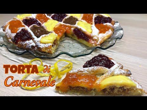 TORTA DI CARNEVALE CREMA E AMARETTI velocissima CARNIVAL CAKE - Tutti a Tavola