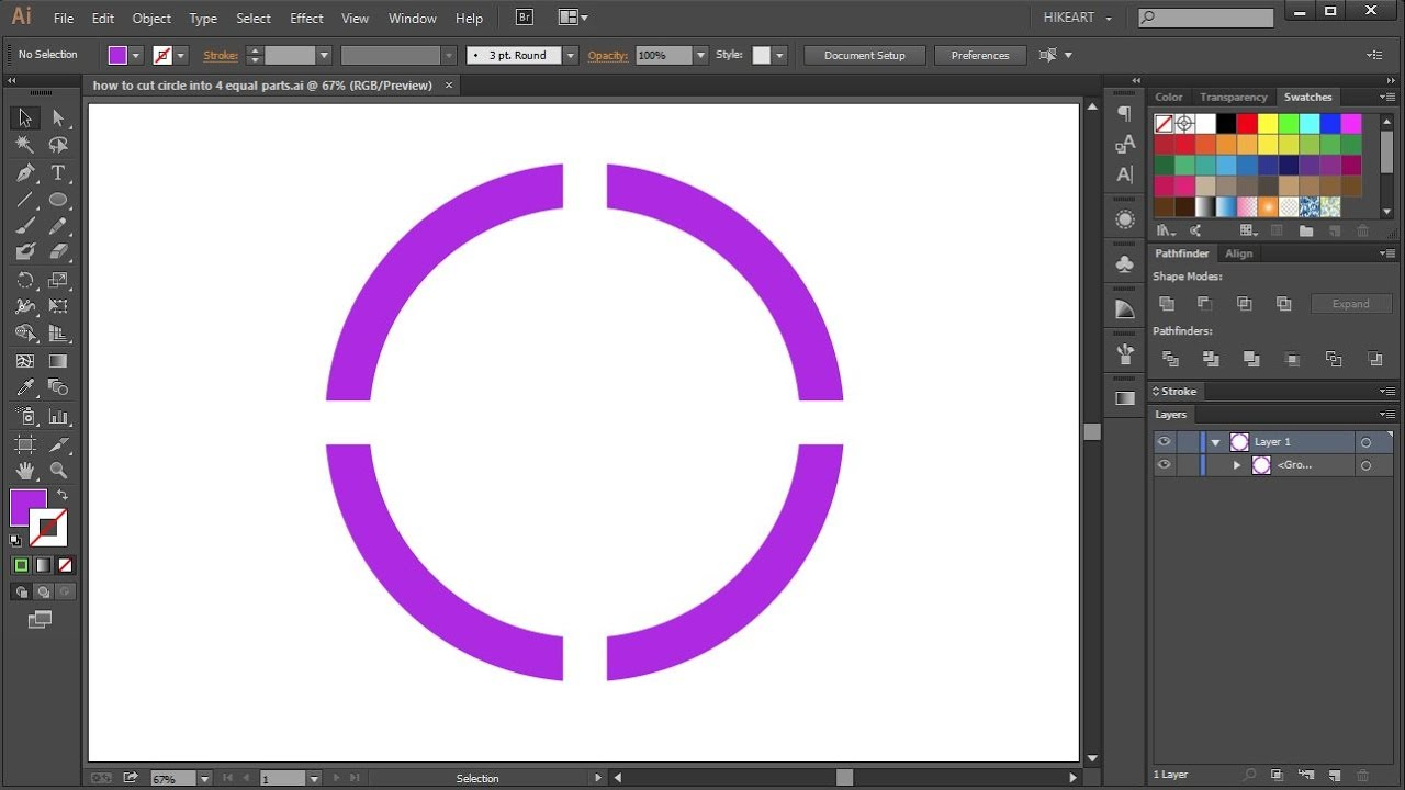 how to cut a circle into 4 equal parts in adobe illustrator