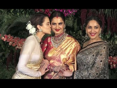 Kangana Ranaut, Madhuri Dixit And Rekha At Anushka Virat Reception In Mumbai