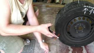Test opravy pneu knotem