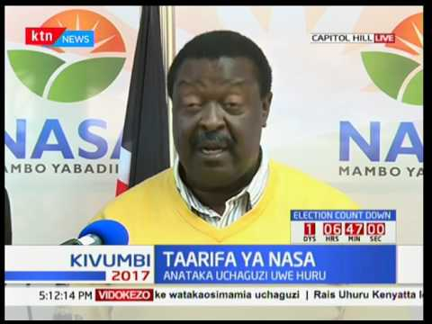Taarifa ya NASA : Musalia Mudavadi atoa wito wa uchaguzi wa huru na amani