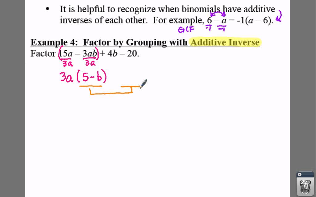 Algebra I Lesson 85 Example 4 Factoring By Grouping Using The
