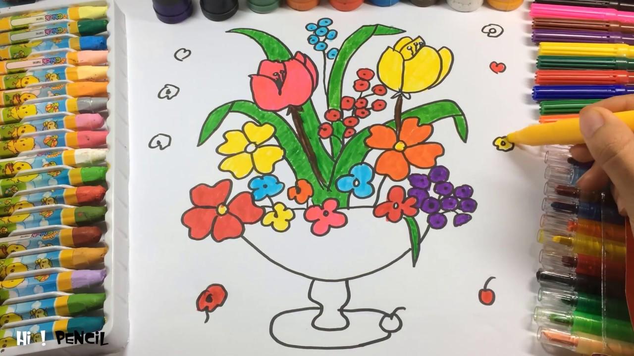 Cómo Dibujar Una Canasta De Flores Para Niñoshow Draw Pintar Color Como Aprende A Dibujar