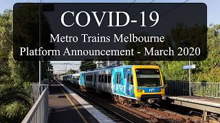 COVID-19 Coronavirus Metro Trains Announcement - March 2020