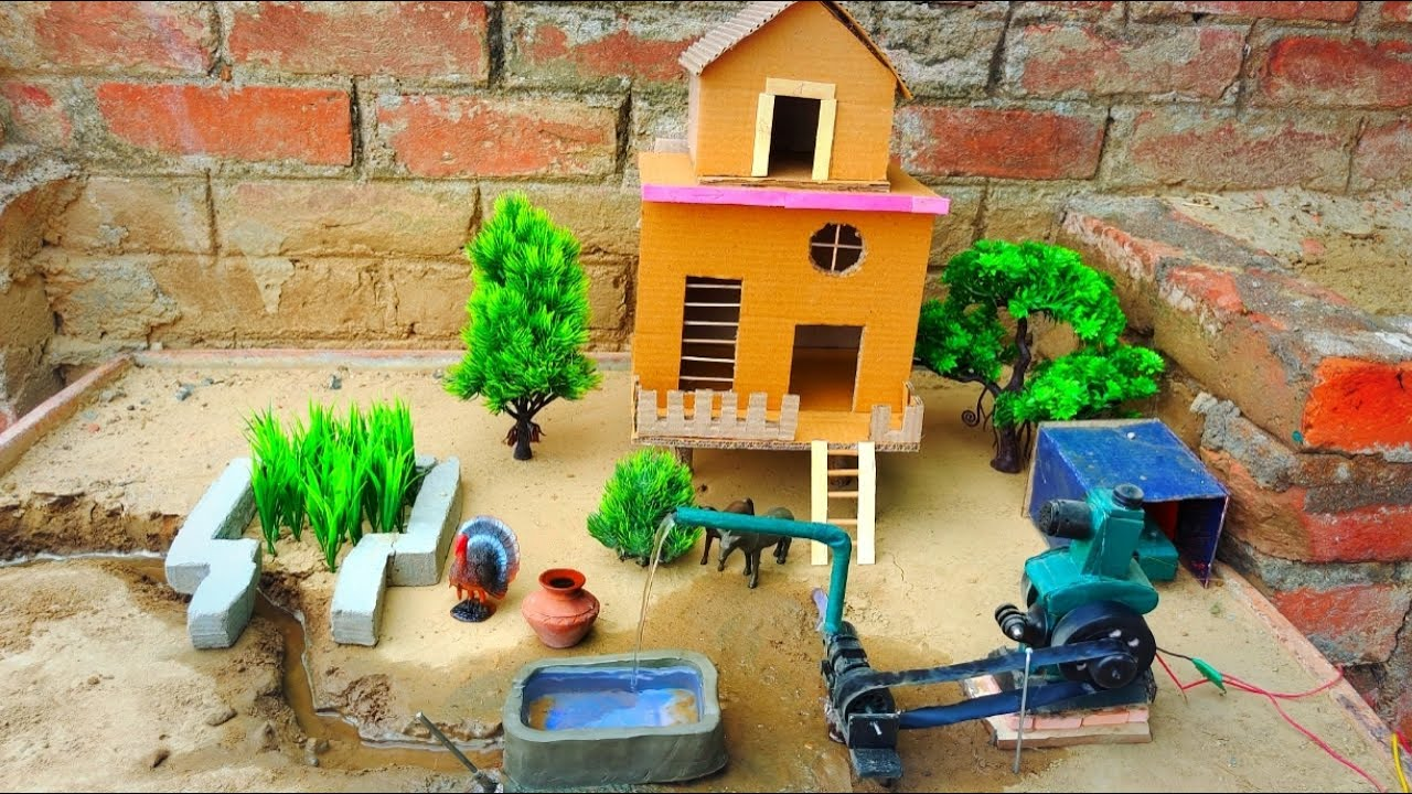 DIY Agriculture farming | Village house | mini farm - with water pump | cow shed | TUBWELL - Pool P2