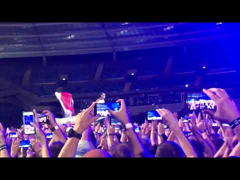 Polish and LGBT flags during Rammstein concert, Chorzow Poland 2019