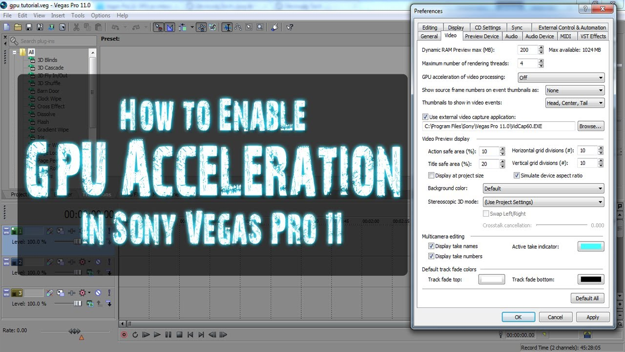 how to enable gpu acceleration in sony vegas pro 11 youtube. Black Bedroom Furniture Sets. Home Design Ideas