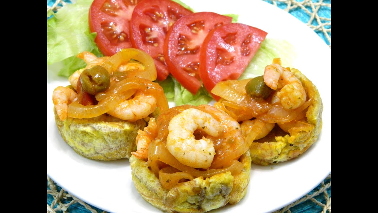 Tostones Rellenos con Camarones Fried Plantains stuffed with Shrimp -  YouTube