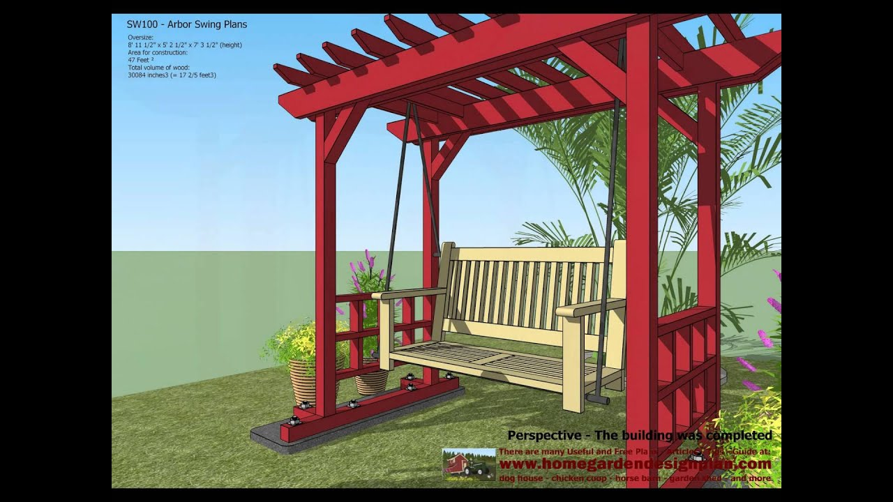 SW100 - Arbor Swing Plans Construction - Garden Swing Plans - Arbor ...