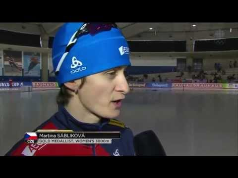 Martina Sábliková - Women`s 3000m + interview - ISU Speed skating World Cup Calgary