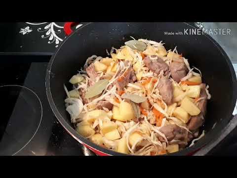 Наш вкусный ОБЕД.. Тушеная капуста, картошка и мясо !! 05.05.2019