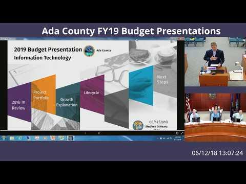 Ada County FY19 Budget Presentations June 12th