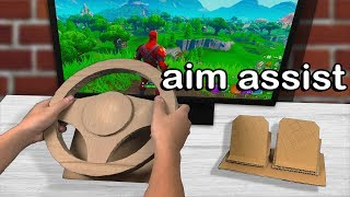 I Played Fortnite on a RACING WHEEL Controller and WON (aim assist)