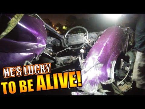 Mustang gets SPLIT IN HALF during street race!
