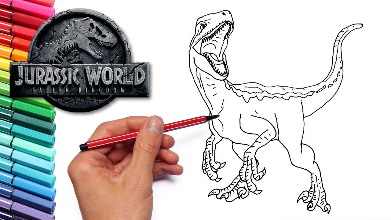 Blue Velociraptor From Jurassic World Fallen Kingdom Drawing and Coloring -  Dinosaurs Color Pages