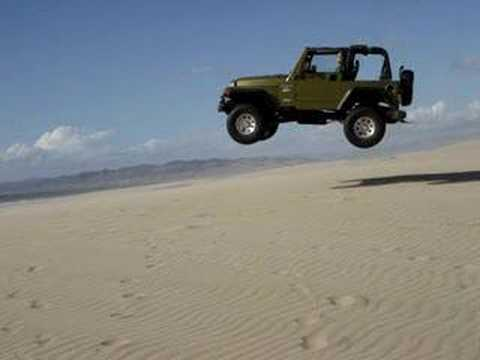 2008 Jeep Wrangler Unlimited Rubicon jeep jump at pismo sand dunes - YouTube