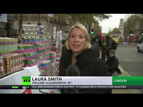 Austerity Mode: Protesters dump foodbank donations outside UK PM residence
