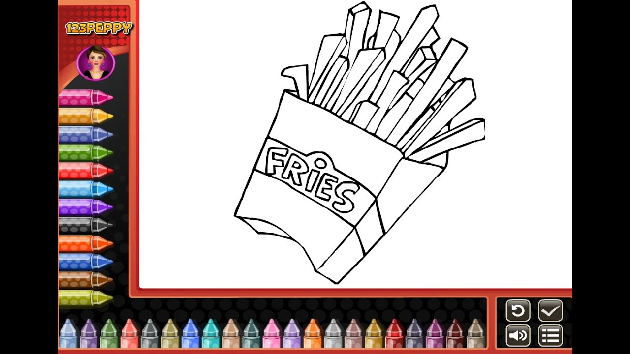 French Fries Coloring Pages for Kids - French Fries Coloring Pages ...