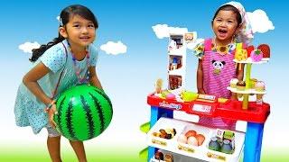 【おーちゃんマーケット】お買い物ごっこで遊んだよ☆おもちゃ ごっこ遊び ショッピングカート 寸劇himawari-CH thumbnail