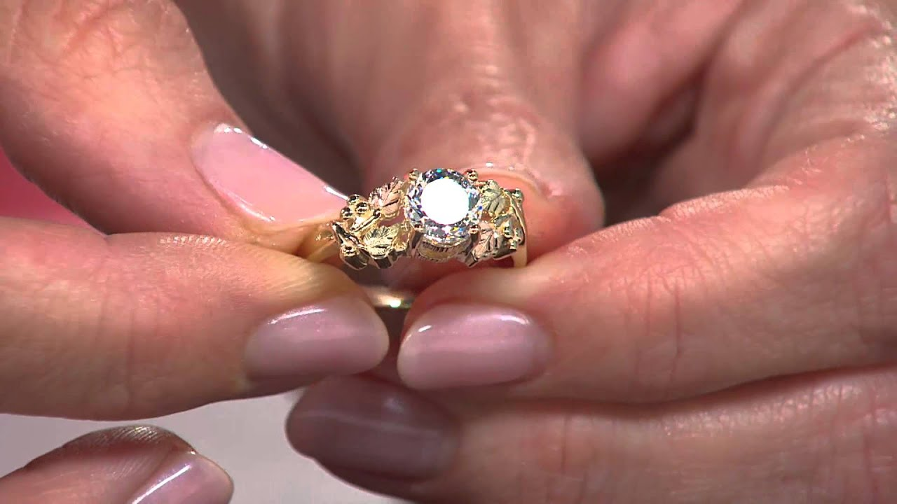 Black Hills 1.50ct100-Facet Diamonique Grape Leaf Ring 10K/12K Gold ...